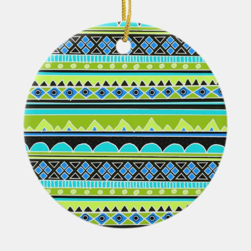Neon Green and blue tribal pattern Double-Sided Ceramic Round Christmas Ornament