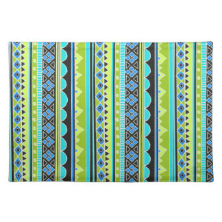 Neon Green and blue tribal pattern Place Mat