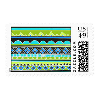 Neon Green and blue tribal pattern Postage Stamp