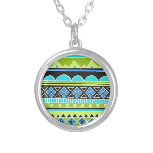 Neon Green and blue tribal pattern Round Pendant Necklace