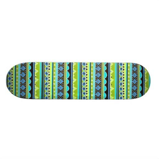 Neon Green and blue tribal pattern Skateboard Decks