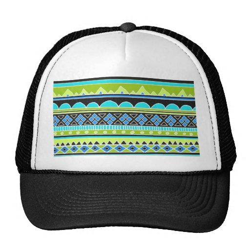Neon Green and blue tribal pattern Trucker Hat