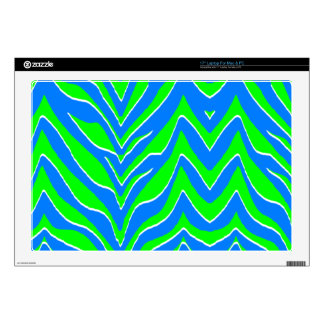Neon Green and Blue Zebra Stripes Decals For Laptops