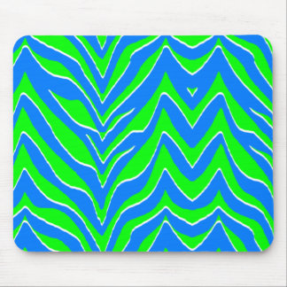 Neon Green and Blue Zebra Stripes Mouse Pad
