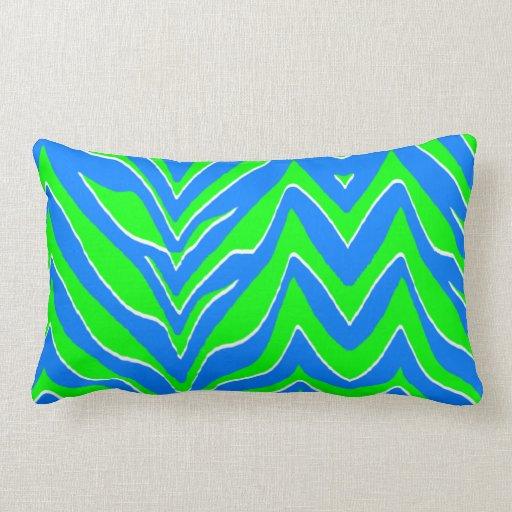 Neon Blue Throw Pillows : Neon Green and Blue Zebra Stripes Throw Pillow Zazzle