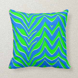 Neon Green and Blue Zebra Stripes Throw Pillow