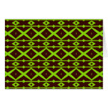 Neon Green and Brown Modern Trellis Pattern Cards
