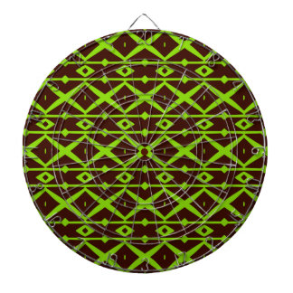 Neon Green and Brown Modern Trellis Pattern Dartboard With Darts
