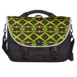 Neon Green and Brown Modern Trellis Pattern Bag For Laptop