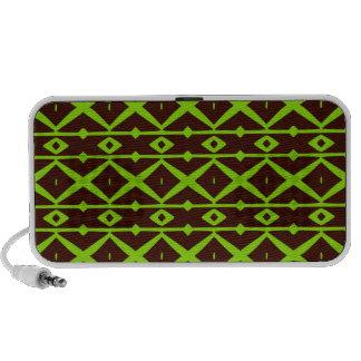 Neon Green and Brown Modern Trellis Pattern Travel Speakers