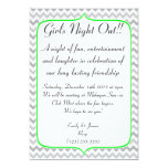 Neon Green and Grey Chevron Girls Night Out Personalized Invitations