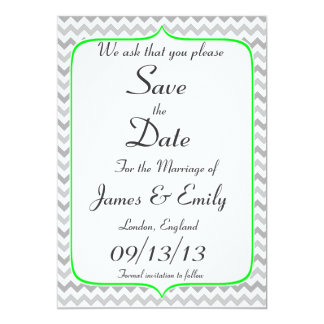 Neon Green and Grey Chevron Save The Date Notice Card