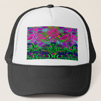 Neon Green and Hot Pink Flower Garden Pattern Trucker Hat
