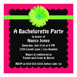 Neon Green and Pink Bachelorette Party Card