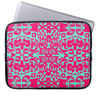 Neon green and pink laptop case. computer sleeve