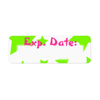 Neon Green and Pink Stars Expiration Date Labels