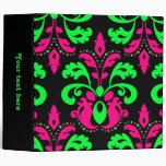 Neon green and pink vintage damask on black 2 in. 3 ring binders