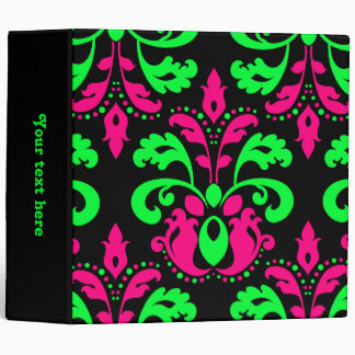 Neon green and pink vintage damask on black 2 in. binder