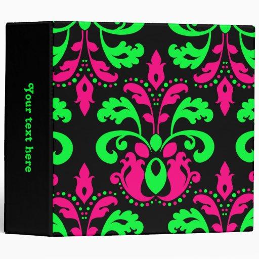 Neon green and pink vintage damask on black 2 in. binders
