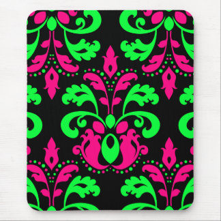 Neon green and pink vintage damask on black mouse pad