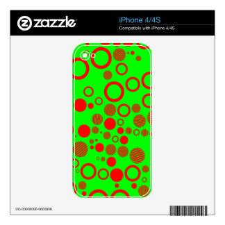 Neon Green and Red Art Style Polka Dots iPhone 4S Decal