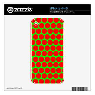Neon Green and Red Big Polka Dot Pattern iPhone 4S Decal
