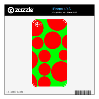 Neon Green and Red Big Random Dots Decals For iPhone 4