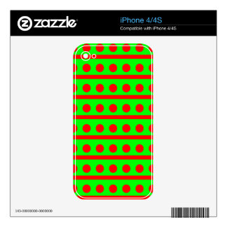 Neon Green and Red Dots And Stripes iPhone 4S Skins