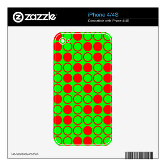 Neon Green and Red Hollow and Filled Dots iPhone 4S Decal