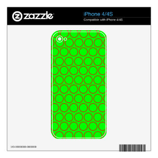 Neon Green and Red Hollow Polka Dots Decals For The iPhone 4S