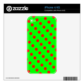 Neon Green and Red Polka Dot Skin For iPhone 4S