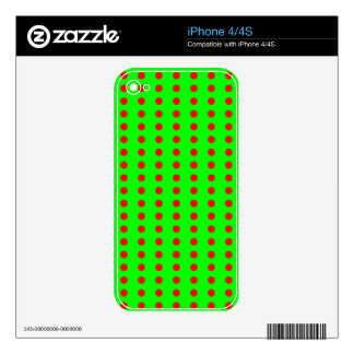 Neon Green and Red Polkadot Pattern Decal For iPhone 4