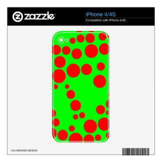 Neon Green and Red Random Polka Dots Decals For The iPhone 4S