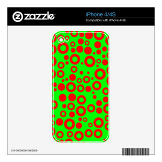 Neon Green and Red Random Rings and Dots iPhone 4S Decals