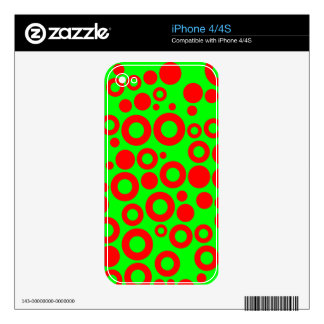 Neon Green and Red Rings and Dots Pattern Skin For iPhone 4