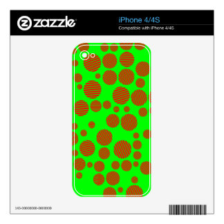 Neon Green and Red Striped Polka Dots Skin For iPhone 4