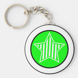 Neon Green and White Star Keychain