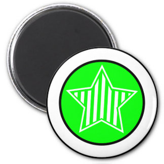 Neon Green and White Star Round Magnet