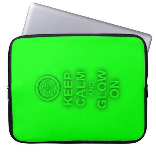"""Neon Green Atomic Symbol """"Keep Calm and Glow On"""" Computer Sleeves"""