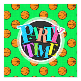 Neon Green Basketball Pattern Card