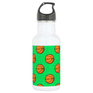 Neon Green Basketball Pattern Water Bottle