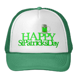 Neon Green Beer Blurred Happy St. Patrick's Day Mesh Hat