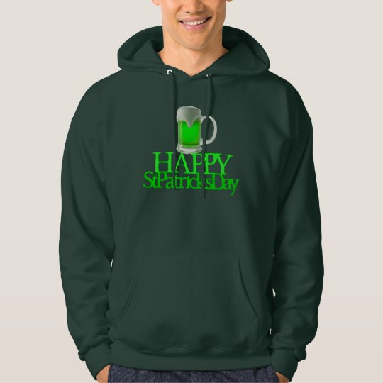 Neon Green Beer Blurred Happy St. Patrick's Day Hoodie