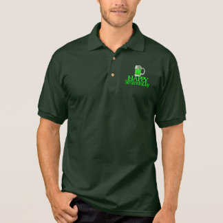 Neon Green Beer Blurred Happy St. Patrick's Day Polo Shirt