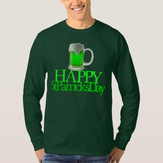 Neon Green Beer Blurred Happy St. Patrick's Day T-Shirt