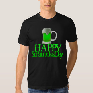 Neon Green Beer Blurred Happy St. Patrick's Day Tee Shirt