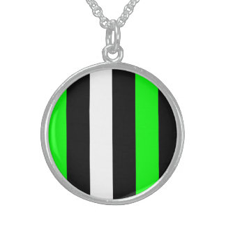 Neon Green Black And White Stripes Personalized Necklace