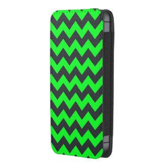 Neon green black chevron pattern iphone pouch