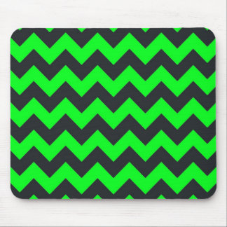 Neon green black chevron pattern mouse pad