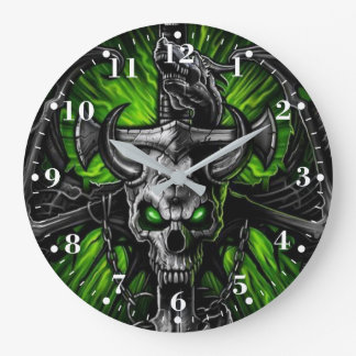 Neon Green Black Gothic Skull Winged Monster Large Clock
